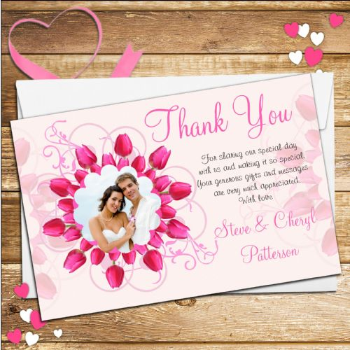 10 Personalised Pink Rose Wedding Thank you Photo cards N36.
